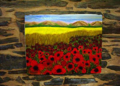 Pintura de campo de trigo y amapolas